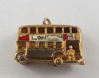 London Double Decker Bus Mechanical 9K Gold Vintage Charm For Bracelet