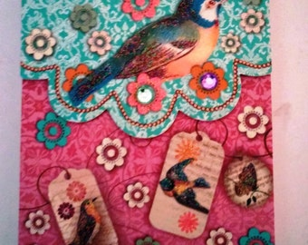 Birds Decoupage Note Pad, Birds and Glitter, Paper, Stationary pochette Craft Scrapbook