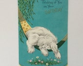 Lazy Summer Days Shaggy Dog Vintage Original 1950 Birthday Greeting Card