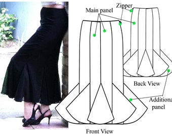 Gored skirt – PDF sewing pattern – Godet maxi skirt– Women's sewing pattern. Sizes 24, 26, 28, 30.