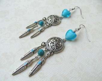 Boho earrings, ethnic earrings, turquoise earrings, heart earrings, feather earrings, blue earrings, amerindian earrings,