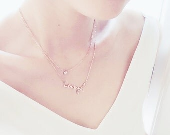 Double Layer Aquarius Uranus Necklace Horoscope The Water Bearer 18K Rose Gold Charm Necklace Star Sign Pendant Necklace Birthday Gift