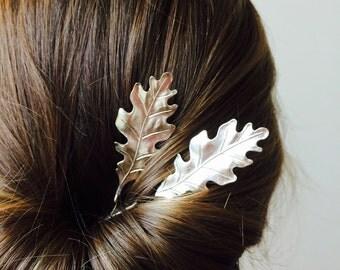 Silver Oak Leaf Hair Pins Silver Bobby Pins Leaf Barrettes Oak Leaf Hair Clips Bridal Hair Pins Hair Accessories Leaf Bobby Pins Hair clips