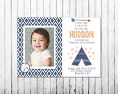 Baby Boy Custom Tribal Aztec Teepee First Birthday Digital Printable Invitation