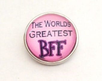 Snap Charm with the text Worlds Greatest BFF fits Noosa, Ginger snaps jewelry and other interchangeable jewelry, Christmas gifts
