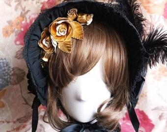 SurfaceSpell Half Bonnet, Cotton Matelasse, Black. Gothic Lolita Bonnet.