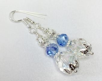 Blue Crystal Drop Earrings Bridesmaid Earrings Bridesmaid Gift Crystal Earrings Wedding Jewelry Blue Crystal Jewelry Wedding Jewelry Set