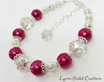 Deep Red Pearl Bridesmaid Bracelet Crystal Bracelet Wedding Jewelry Bridesmaid Gift Red Wedding Crystal Jewelry Wedding Set Crystal & Pearl