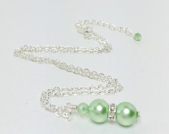 Mint Green Necklace Shell Pearl Necklace Crystal Necklace Bridesmaid Gift Wedding Jewelry Crystal Jewelry Pendant Necklace Flower Girl Gift