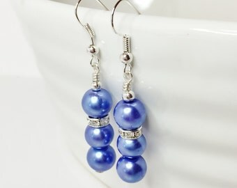 Denim Blue Pearl Drop Earrings Wedding Earrings Bridesmaid Gift Crystal Earrings Blue Pearl Jewelry Mother of the Bride Gift