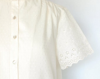 Ivory Cotton Blouse with Eyelet Edge Trim