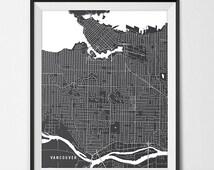 Vancouver BC Map Art Print, Vancouver City Map of Vancouver Art Poster of BC Canada Map University of British Columbia Art Grad Dorm Art