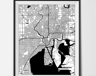 Tampa Map Print, Tampa Poster of Florida Map of Tampa Print Gift Tampa Florida Art, University Art Poster College Dorm Room Art