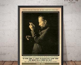 Radiohead - Thom Yorke Poster - Quote Retro Music Poster - Music Print, Wall Art