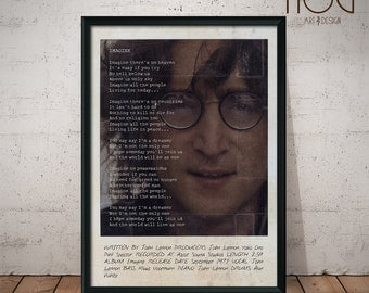 John Lennon - Imagine - Polaroid Inspired Lyrics Poster -  Customizable