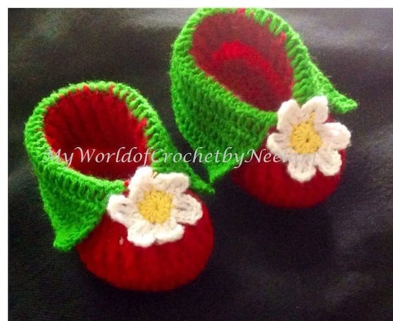 Strawberry Booties Crochet Pattern Booties for baby white