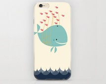 Whale Carried by Fish iPhone 6 Case Adorable Gift Idea Protective Phone Case Style, Marine Life, Aqua Blue, Mint Green Color Beige iPhone 6s