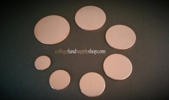 """18g, 1"""" COPPER disc, SETS OF 3 stamping discs, 1"""" round blank, one inch, disc for etching, metal supply shop, jewelry supply, hand stamping"""