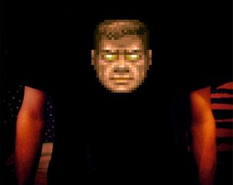 DOOM Doomguy God Mode Printed Vinyl Black T-Shirt Sci Fi Geek Gamer Horror Retro Videogame
