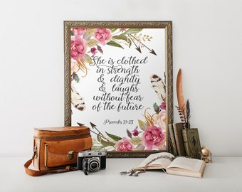 Christian wall art decor Scripture nursery art Strength and Dignity Nursery Bible verse print decor Proverbs 31:25 Bible verse art BD-331