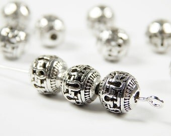 10 Pcs - 8mm Hollow Metal Spacer Beads - Tibetan Silver - Spacer Beads - Jewelry Supplies