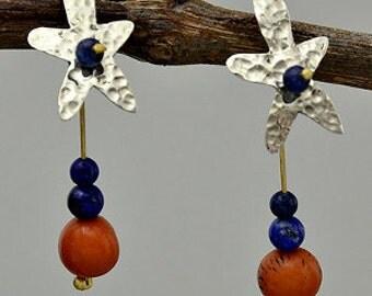 Flower earrings, acai jewelry, lapis long studs, navy orange studs, colorful earrings, floral design, organic beads studs, boho earrings