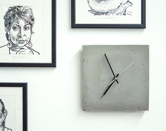 Concrete Wall Clock - Dark Grey