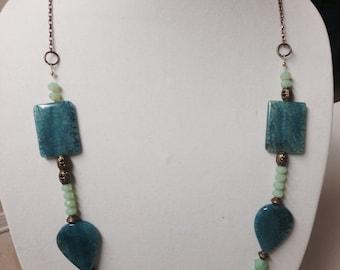 Boho Bohemian Necklace Greens/Blues