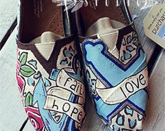 Custom Hand Painted 1st Corinthians 13 Canvas TOMS Shoes | Love is Patient | Love is kind | Cheetah TOMS | Anchor | Cross | Faith Hope love