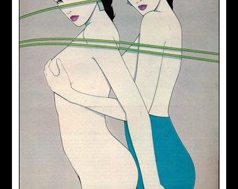 Playboy Vintage Pinup January 1985 Patrick Nagel Illustration Sexy Nude Pinup Mature Wall Art Deco Print