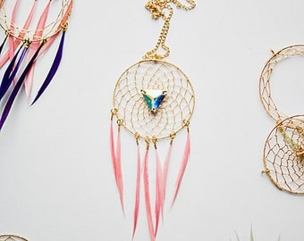 gold  feather dreamcatcher necklace