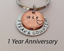 1 Year Anniversary Present For Wife : ... One Year Anniversary Gift, Gift For Men, Penny Keychain, Gift for Wife