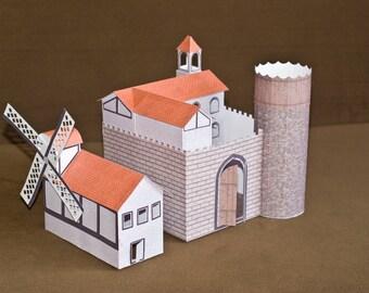 Windmill castle papercraft model | Assembling Kit | DIY 3D model | Pre-cut & Peel with PVA glue