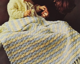 Crochet Baby Blanket Pattern, Vintage 1970s Baby Sweater and Cap Pattern, PDF Pattern, Instant Download Pattern, Columbia Minerva Patterns