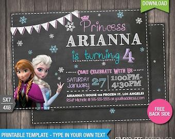 Frozen Birthday Invitation - INSTANT DOWNLOAD - Printable Disney Frozen Chalkboard Birthday Invite - DIY Personalize & Print - fr594
