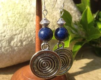 Boho earrings, Bohemian earrings, Ethnic earrings, Tribal earrings, Silver dangle earrings, Lapis Lazuli earrings, Lapis earrings