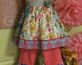 Little Girl Dress and pant set perfect for any occasion .
