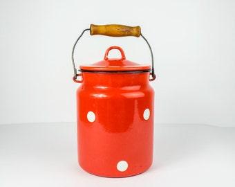 Vintage Enamel Milk Can - Polka dot milk can - Red Milk Can - Soviet red milk can - Enamelware - Milk container