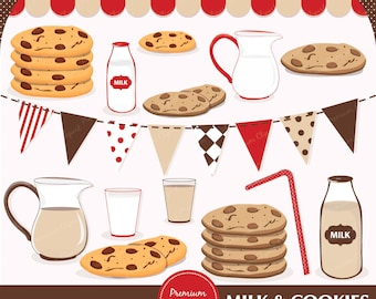 Milk and cookies clipart, cookies and milk clipart, cookies and milk party, cookies clipart, commercial use - CA165
