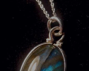 Labradorite & Sterling Silver Cabochon Pendant Necklace
