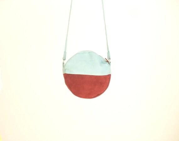 Blue Linen Bag, Round Handbag, Colour Block Bag, Color Block Bag ...