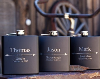 Personalized Groomsman Flask with Arrow Design, Custom Engraved Flask, Wedding Gift for Groomsmen, Best Man, Bachelor Party,Customized Flask