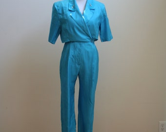 Aqua Turquoise Blue Jumpsuit with Rhinestone Details from Joan Walters