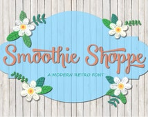 Smoothie Shoppe Retro Brush Script Font and Bonus Chalkboard Ornaments Download