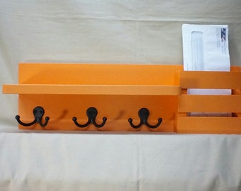Wall Shelf with Hooks - Mail Holder – Mail Organizer – Key Hooks – Shelf – Display Shelf