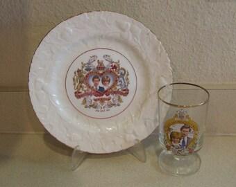 Princess Diana Wedding Plate Prince Charles, Vintage Commemorative Wedding Plate and Glass,Made England Bone China, Princess Diana Wedding