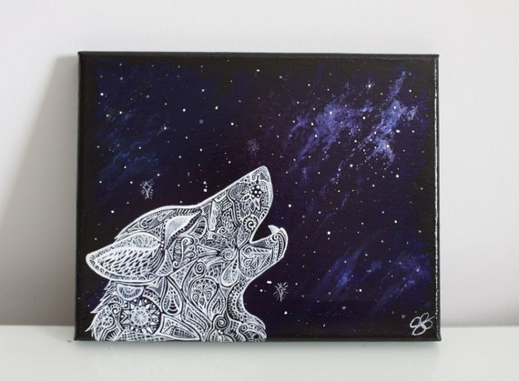 Howling Wolf Galaxy Painting