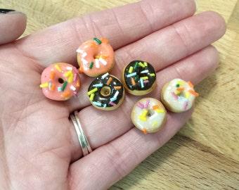 Chocolate,  Vanilla, and Pink Strawberry Rainbow Sprinkle Donut Stud Earring Set