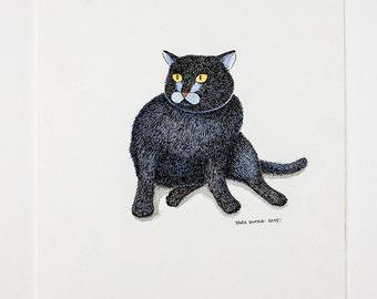 Original illustration of a black cat