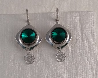 Emerald Crystal with Rose Dangle Earrings
